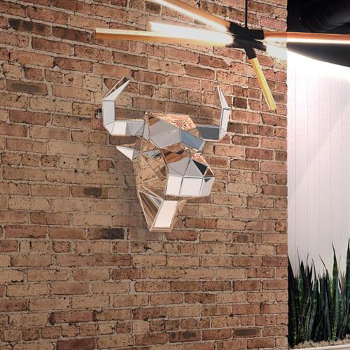Зеркальная полигональная скульптура Бык Art. MS557