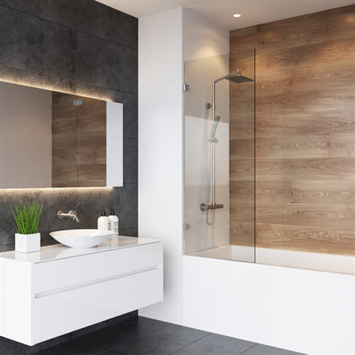 Открывающаяся душевая шторка на ванную тип F4